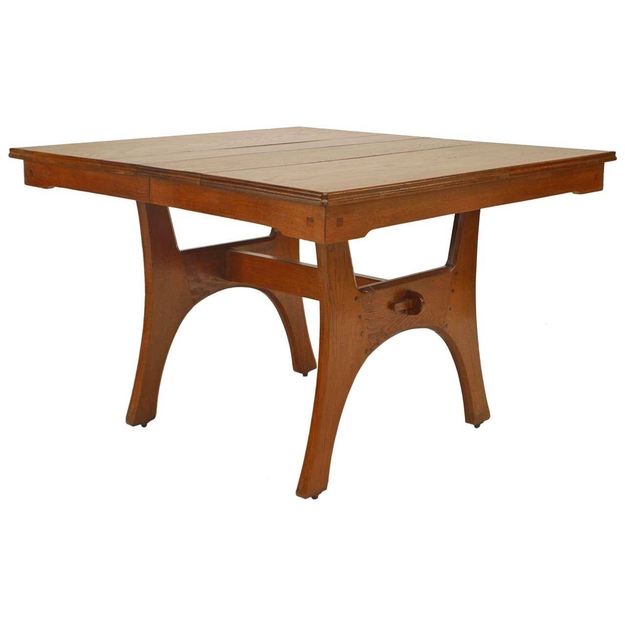 French Arts And Crafts Oak Dining Table With Extension At 1stdibs