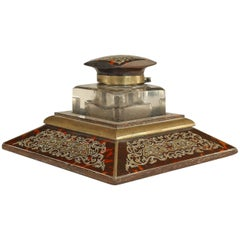 19th c. French Boulle Style Brass-Inlaid Tortoise and Crystal Inkwell