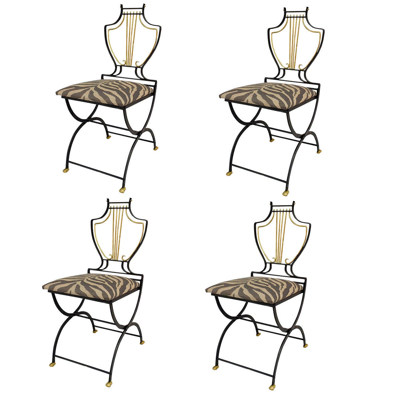 Set of 4 American Art Moderne Lyre Design Side Chairs