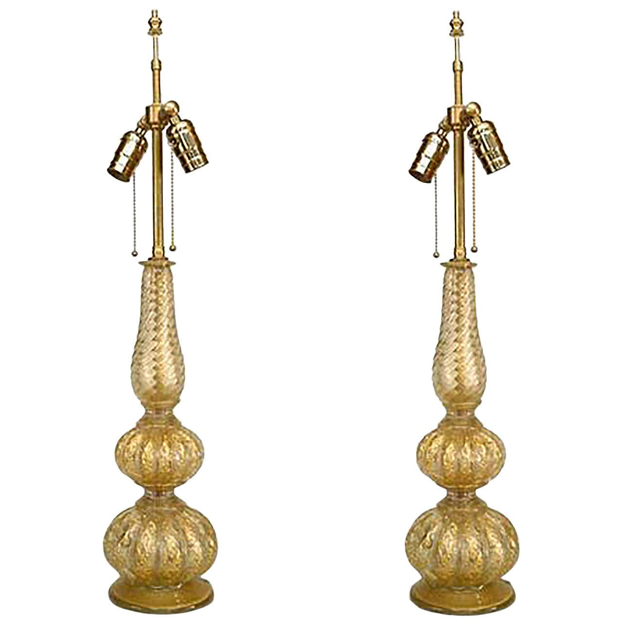 Pair of 1940's Italian Gold Dusted Murano Glass Table Lamps