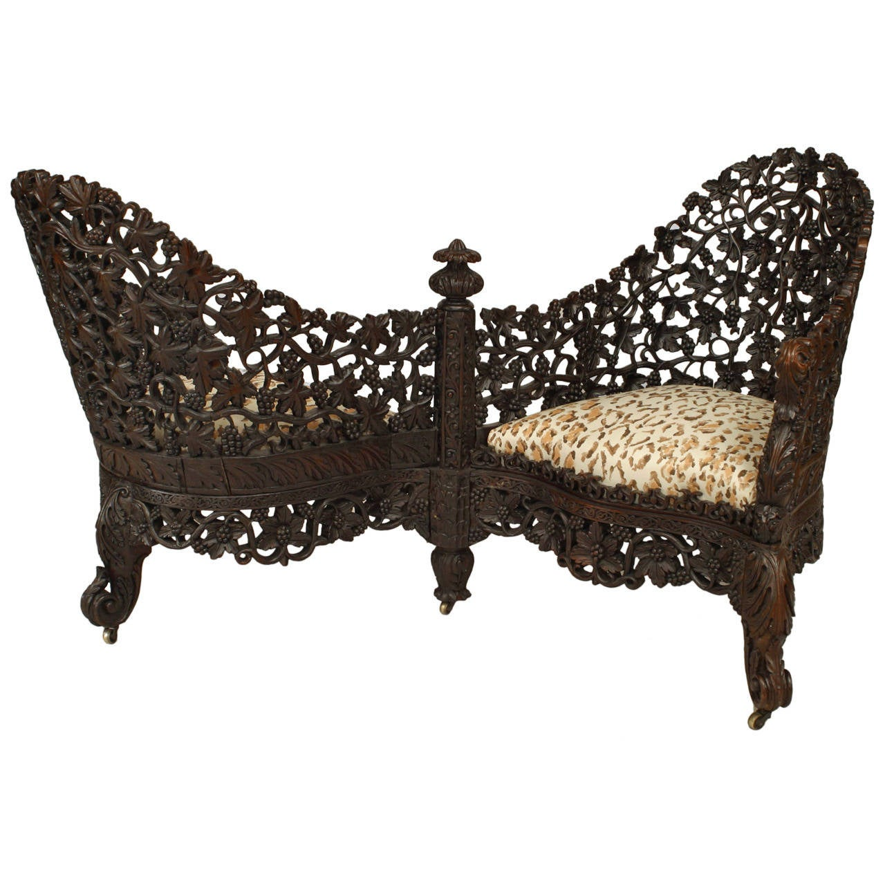 19th c burmese filigreed rosewood tete a tete for sale at for Furniture in hindi