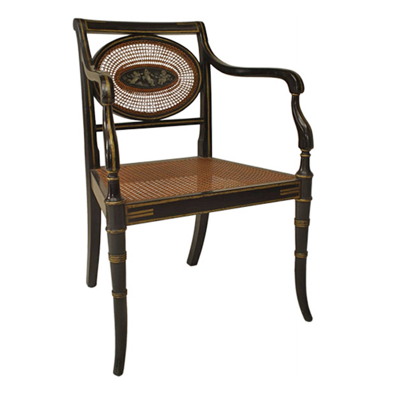 English Regency Black Lacquered And Caned Chairs For Sale