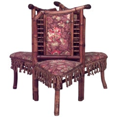 19th c. French Bamboo Three-Section Tete A Tete
