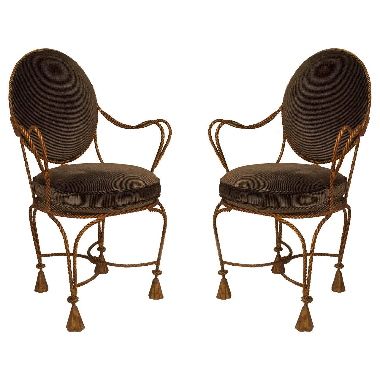 Pair of French Upholstered Rope and Tassel Armchairs