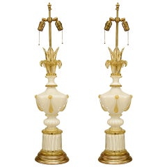 Neoclassical Style Murano Glass Table Lamps