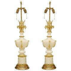 4 Italian Murano Neoclassic White Glass Table Lamps