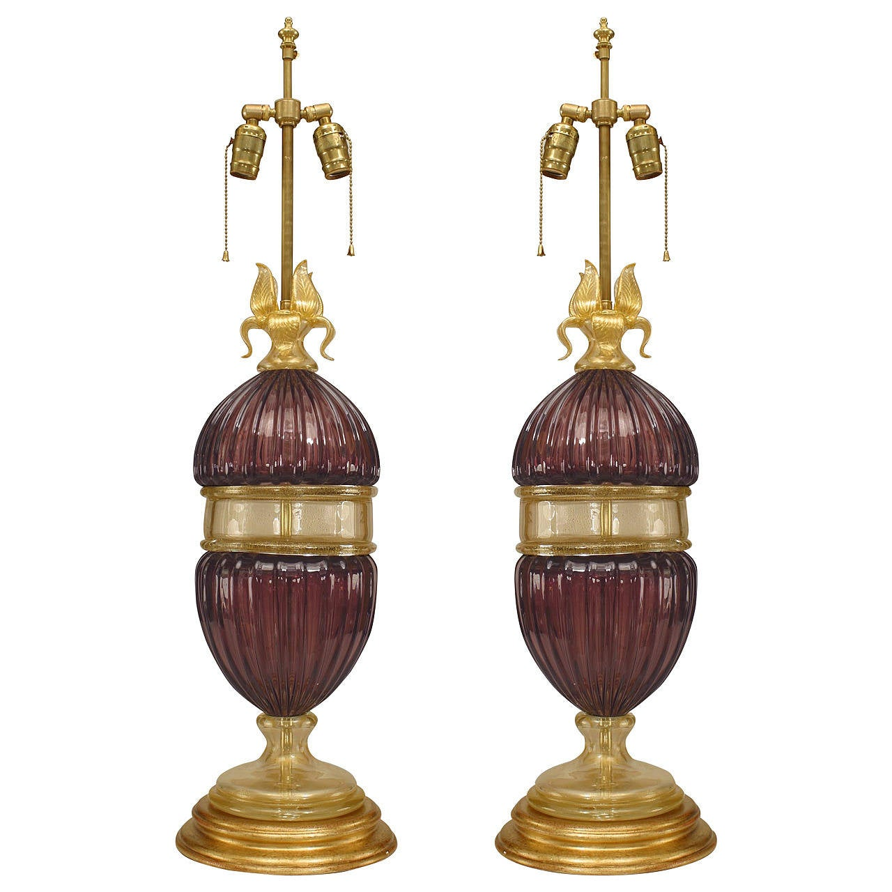 Pair of Italian Amethyst and Gold-Dusted Murano Table Lamps