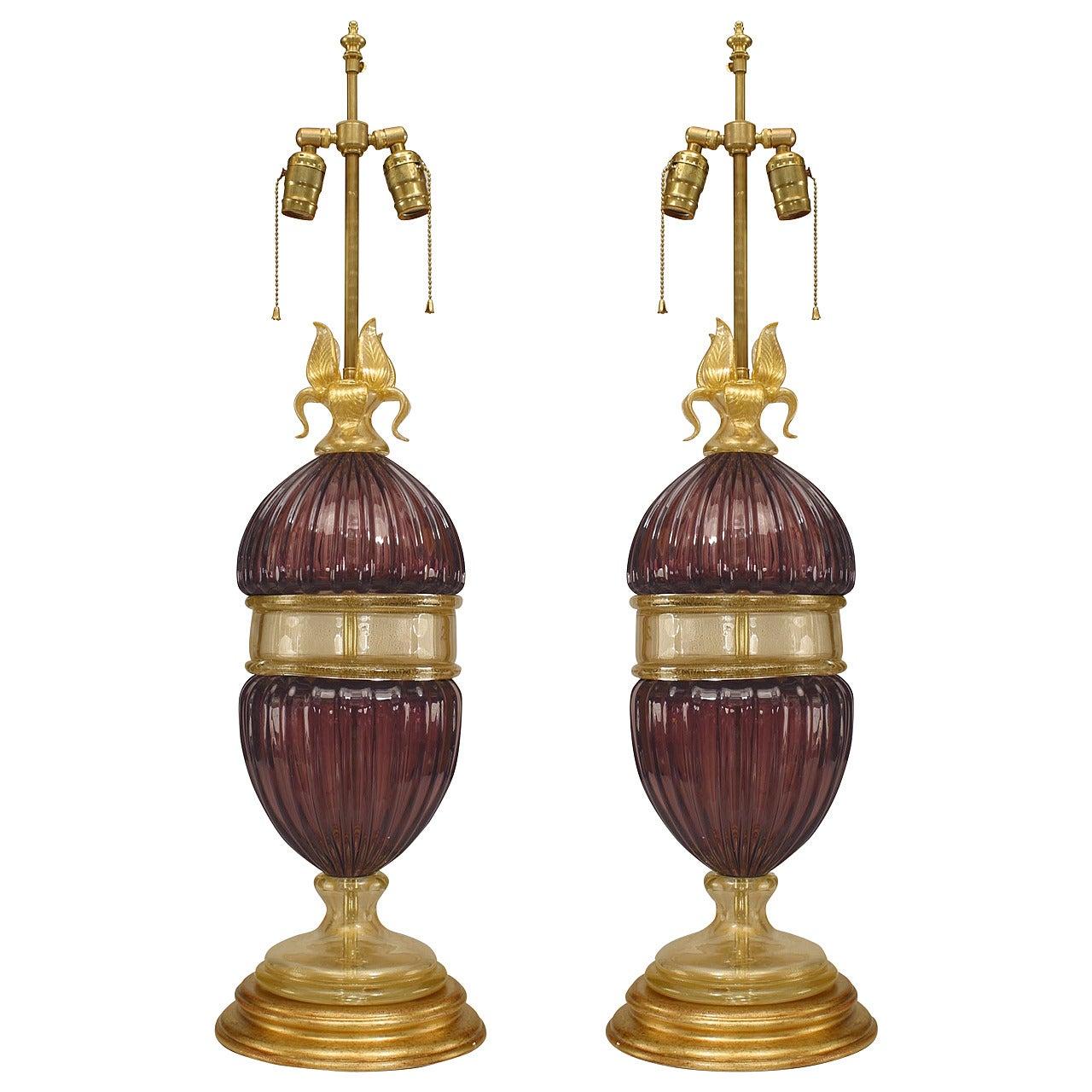 Pair of Italian Murano Amethyst Glass Table Lamps