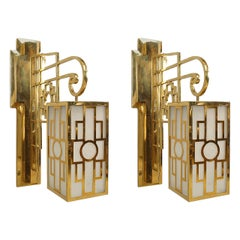 Pair of 1940s French Latticed Brass Sconces or Lanterns