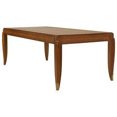 Fine French Inlaid Rosewood Dining Table, by Jean Pascaud