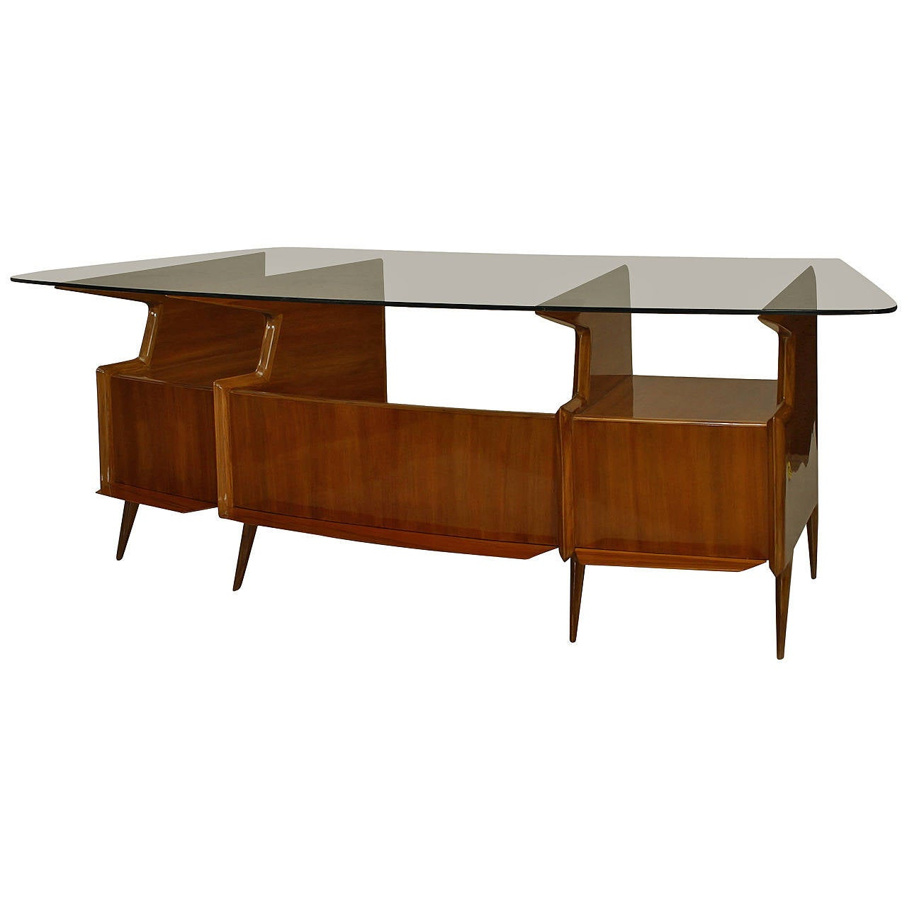 Midcentury Italian Bowed Glass Top Mahogany Desk By Gio Ponti For Sale At 1stdibs