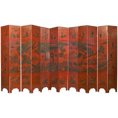 Large Chinese Twelve-Panel Decorated Screen, Mid-19th Century