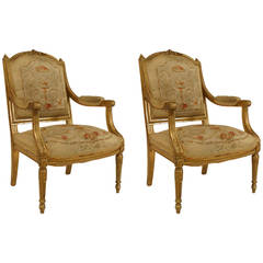 Pair of French Louis XVI Style Aubusson-Upholstered Giltwood Armchairs