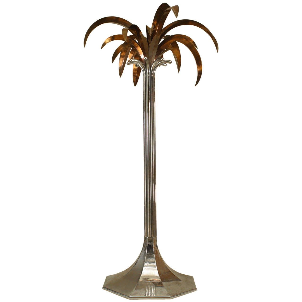 Large 1960s French Chrome And Copper Palm Tree For