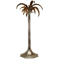 Large 1960s French Chrome and Copper Palm Tree