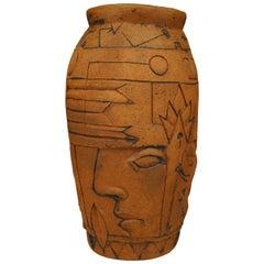American Post-War Bentley Egyptian Style Terra-Cotta Vase