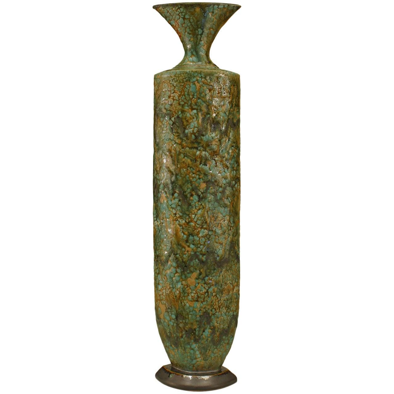 American Post-War Di Pasquale Green Ceramic Vase