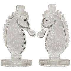 Pair of 1940s Murano Glass Seahorse Candlesticks by Barovier e Toso