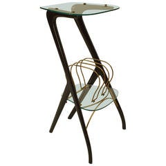 Small 1940s Italian Magazine Rack End Table Attributed to Ico Parisi