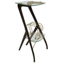 Ico Parisi Italian Mid-Century Ebonized Wood and Glass Magazine Rack Table