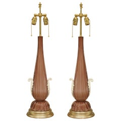 Pair of 20th Century Italian Amethyst Murano Glass Table Lamps