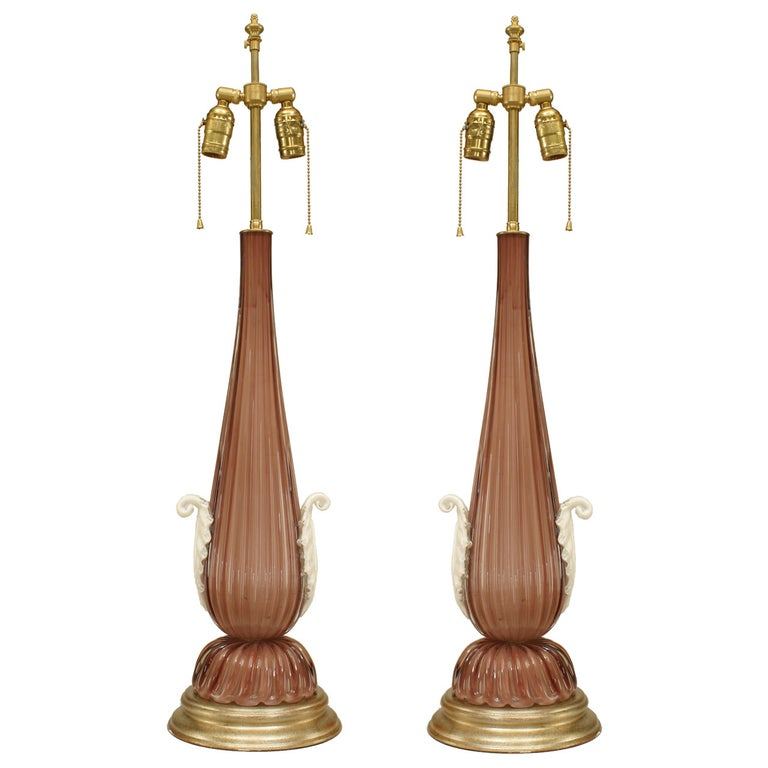 Pair of 20th Century Italian Amethyst Murano Glass Table Lamps For Sale