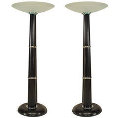 Two Italian Ebonized Chrome Trimmed Ebonized Floor Lamps