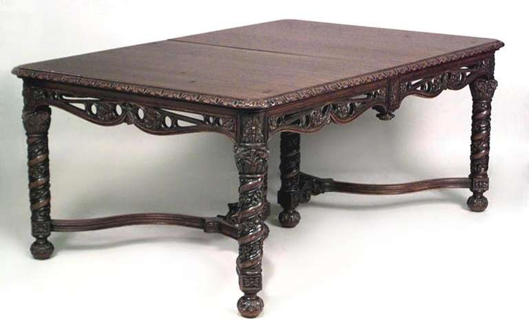 Revival Carved Mahogany Extending Dining Table For Sale At 1stdibs
