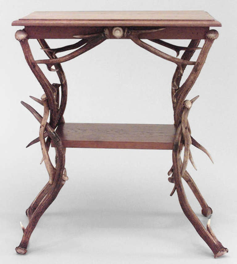 19th c. German Rustic Horn and Antler End Table 3