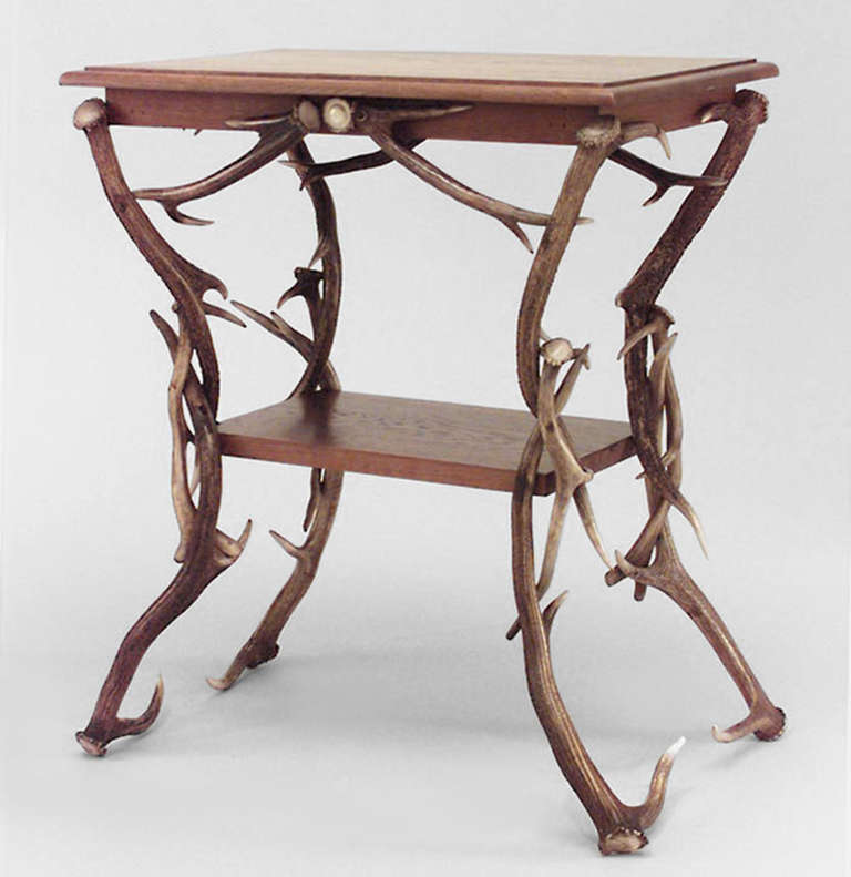 19th c. German Rustic Horn and Antler End Table 2