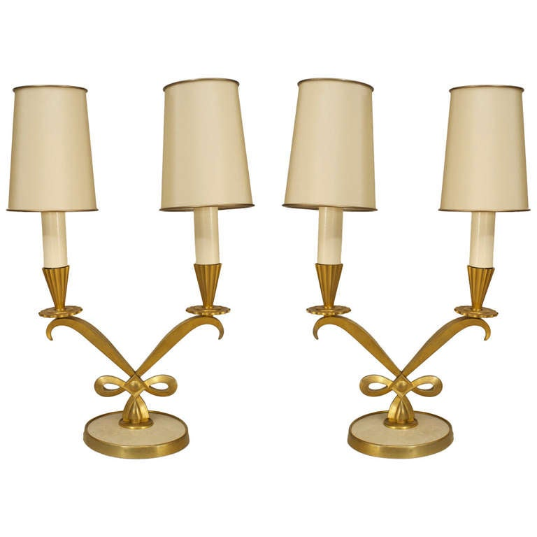 Pair of French Art Deco Table Lamps by Genet et Michon and Dominique