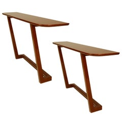 2 French 1940s style Modern Mahogany Veneered Console Tables