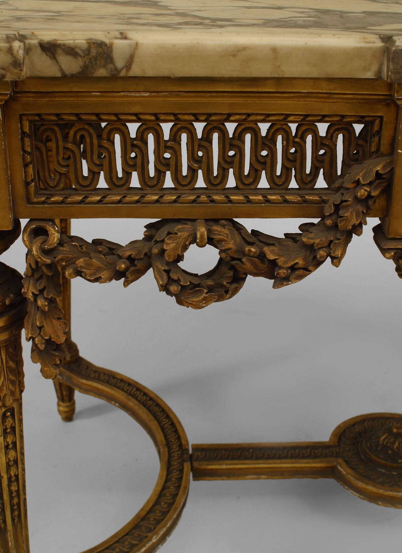 Giltwood 19th Century French Louis XVI Style Gilt Center Table For Sale