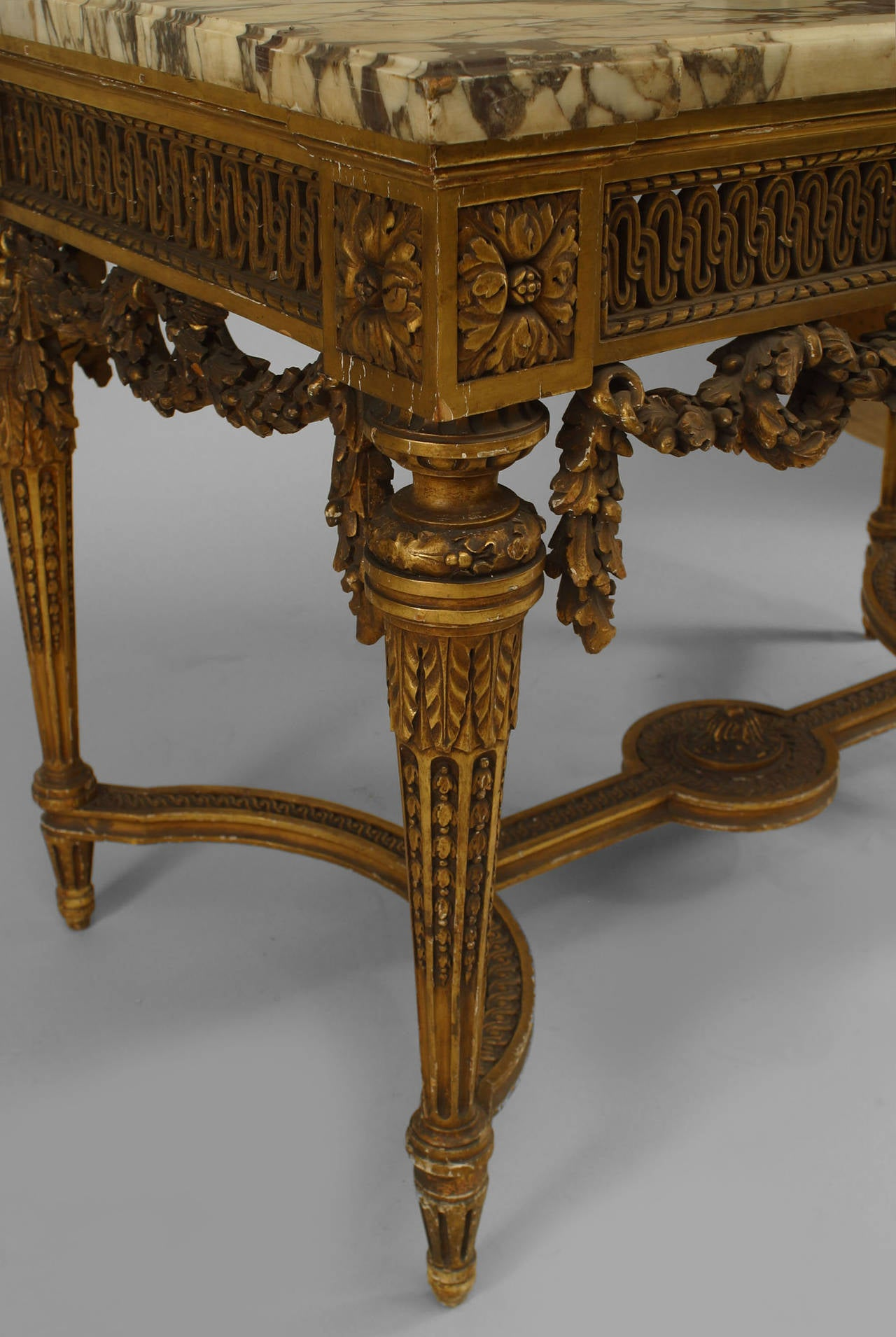 19th Century French Louis XVI Style Gilt Center Table For Sale 1