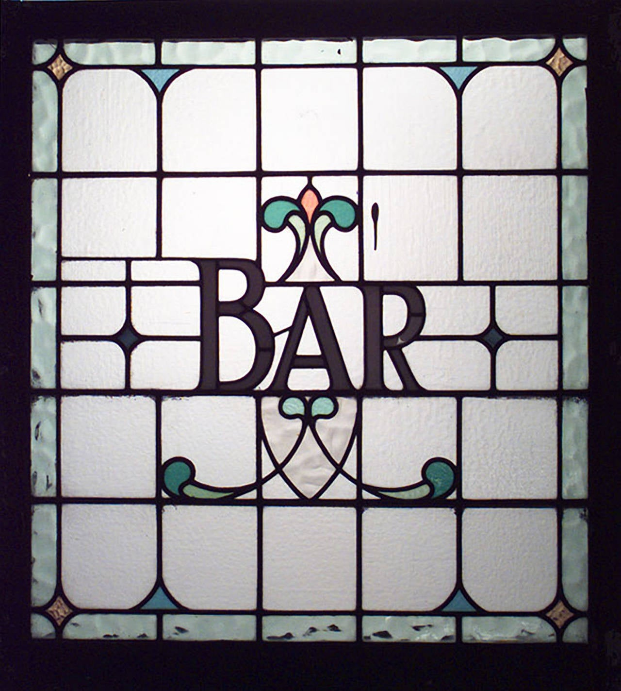 Three (3) late 19th English Victorian square leaded glass pub sign window panels (PRICED EACH).