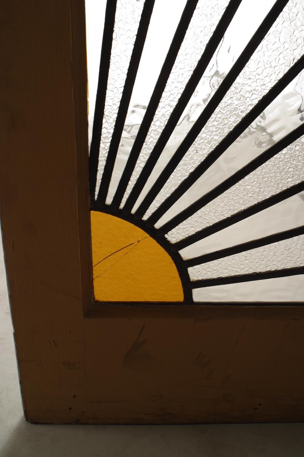 Pair Of French Art Deco Leaded Glass Sunburst Doors For
