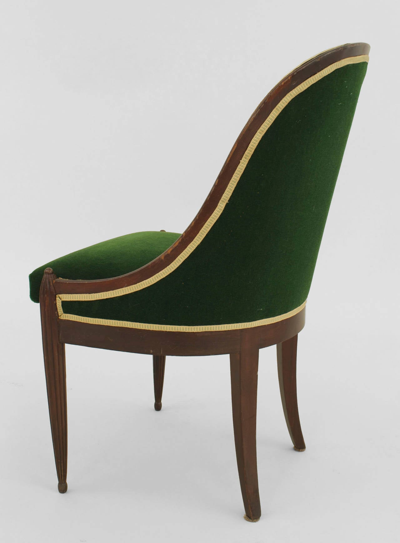 Pair of French Art Deco Green Velvet Upholstered Mahogany Side