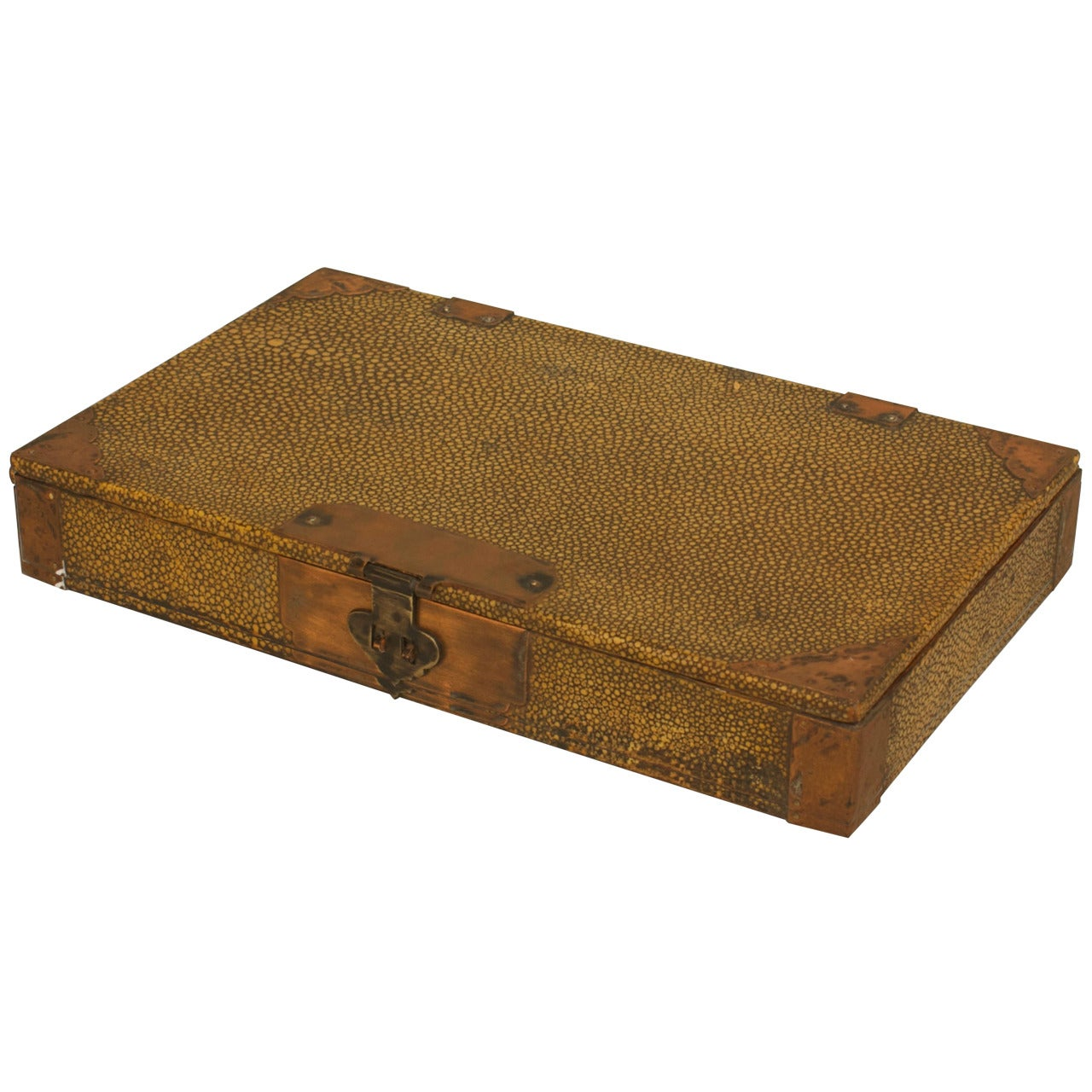English Art Deco Yellow Shagreen Box