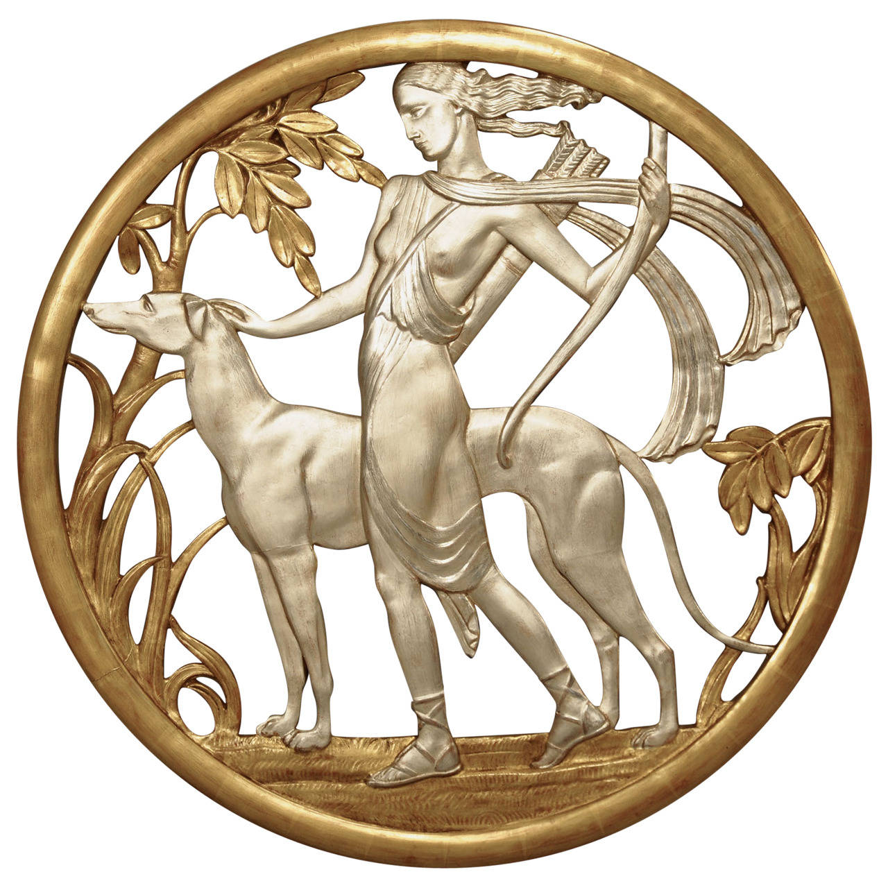 Important Art Deco Mythological Gilt Wall Plaque For Sale
