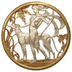 Art Deco Mythological Gilt Wall Plaque of Diana