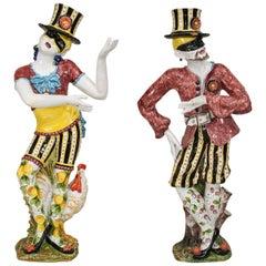 Pair of Turn of the Century Italian Majolica Harlequins