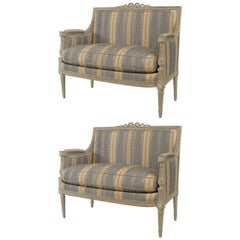 Pair of Early-Mid 19th Century French Louis XVI Style Marquise Loveseats