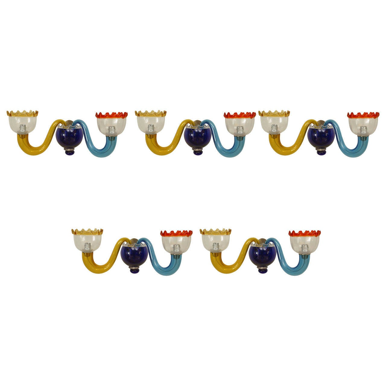 Five 1950s Italian Multicolored Murano Sconces Attributed to Gio Ponti