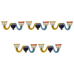 Five 1950s Italian Multicolored Murano Sconces, Attributed to Gio Ponti