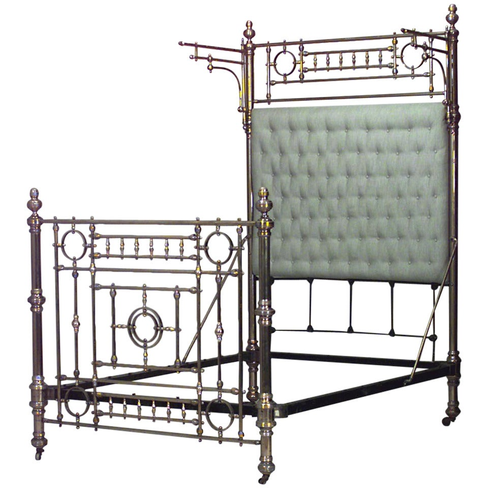 Dramatic 19th century american full sized brass bed at 1stdibs for Dramatic beds