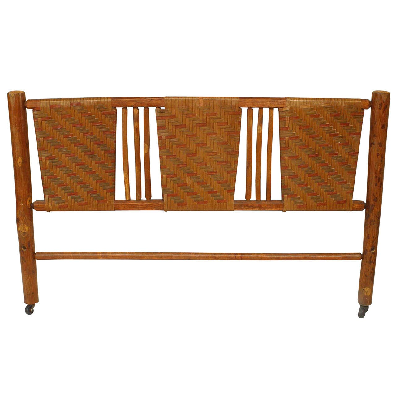 American Rustic Woven Headboard By The Columbus Hickory Furniture Co. For  Sale