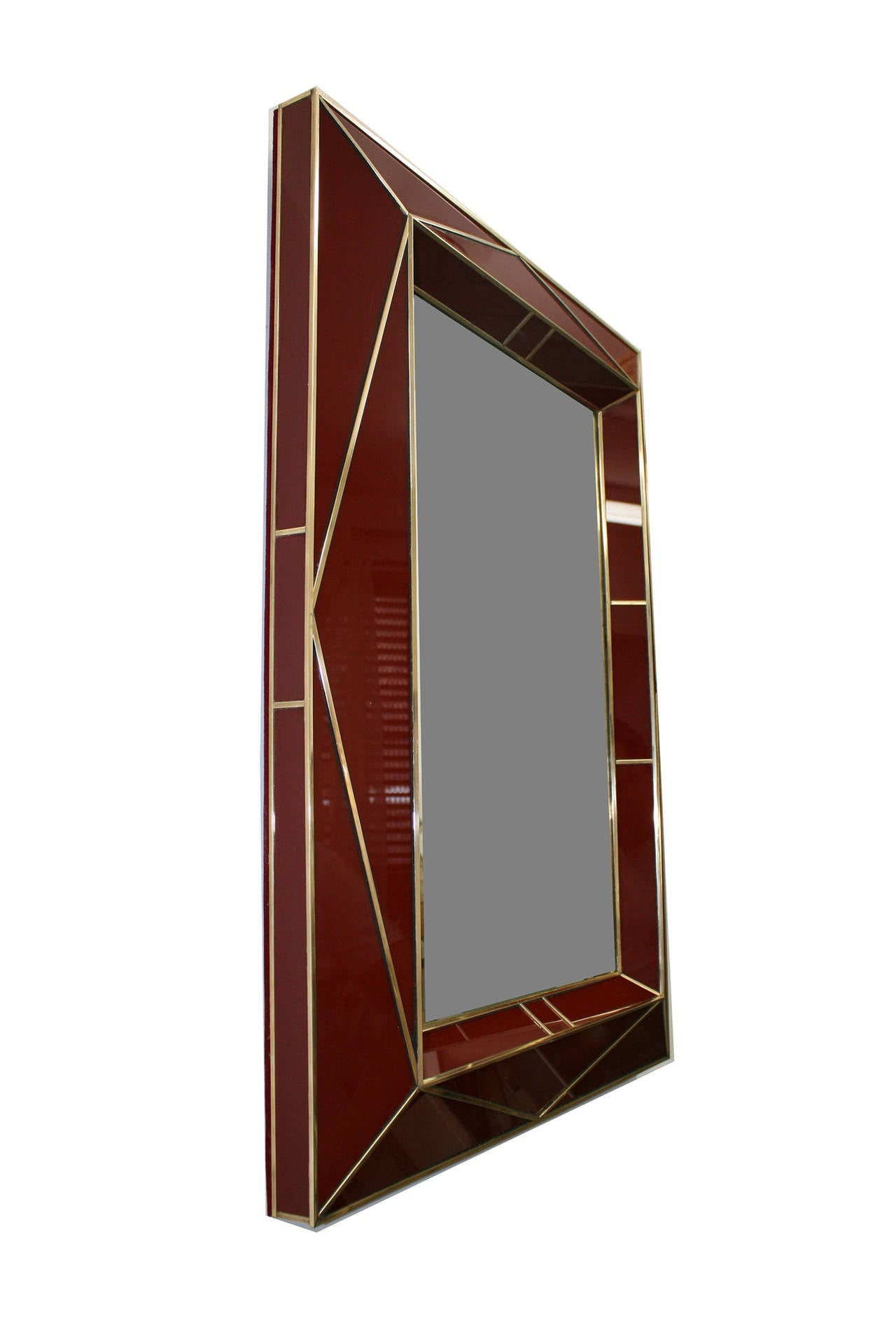 Contemporary american brass trimmed colored glass mirror for sale at 1stdibs Mirror glass furniture