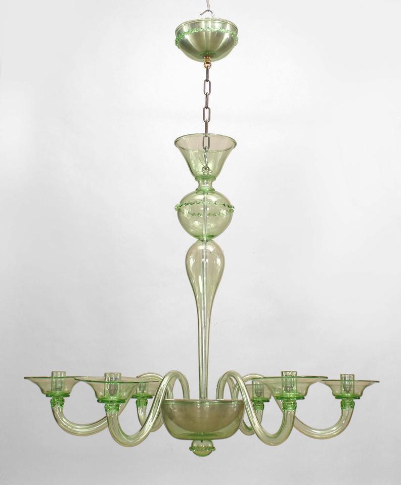 1960s italian green murano glass chandelier at 1stdibs - Murano glass lighting ...