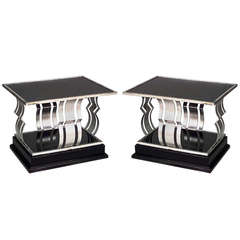 Pair of French Art Deco Black Glass and Painted Iron End Tables