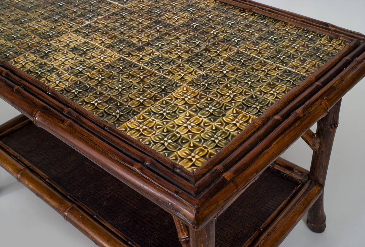 Superb 19th Century English Bamboo Tile Top Coffee Table 2